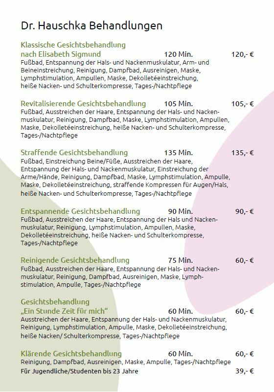 Preisliste Dr.-Hauschka-Behandlungen