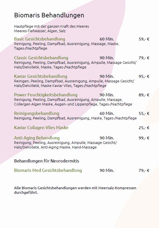 Preisliste Biomaris-Behandlungen